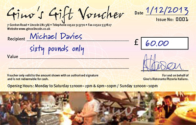 Gino's Vouchers make the ideal gift